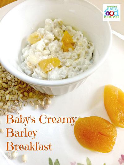 Baby's creamy barley breakfast recipe