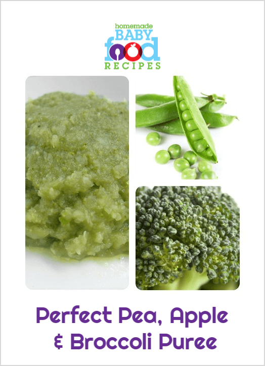 Pea, apple and broccoli puree