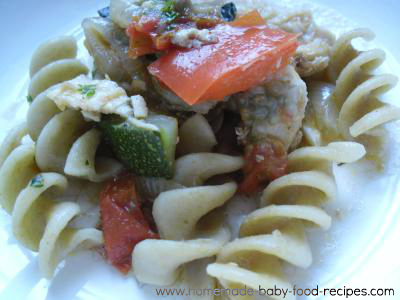 Babys Chicken Ratatouille With Whole Wheat Pasta The Homemade