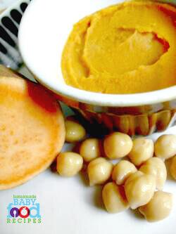 Sweet potato and chickpea puree baby food recipe