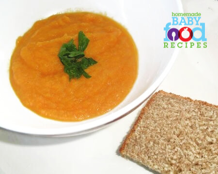 Carrot soup with ricotta bread