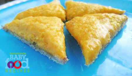 Cheesy Eggy Triangles - Tasty Toast for Babies!