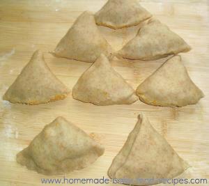 Sweet potato samosas ready for the oven