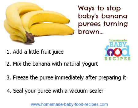 Stop baby's banana purees turning brown