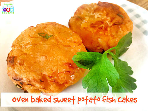 Oven baked sweet potato fish cakes