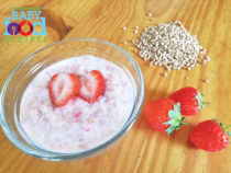 A bowl of strawberry buckwheat for babies