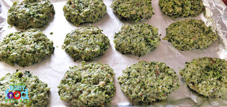 Baby's broccoli nuggets ready for the oven