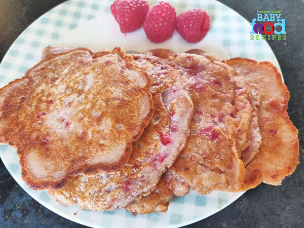 A plate of raspberry pancakes for baby