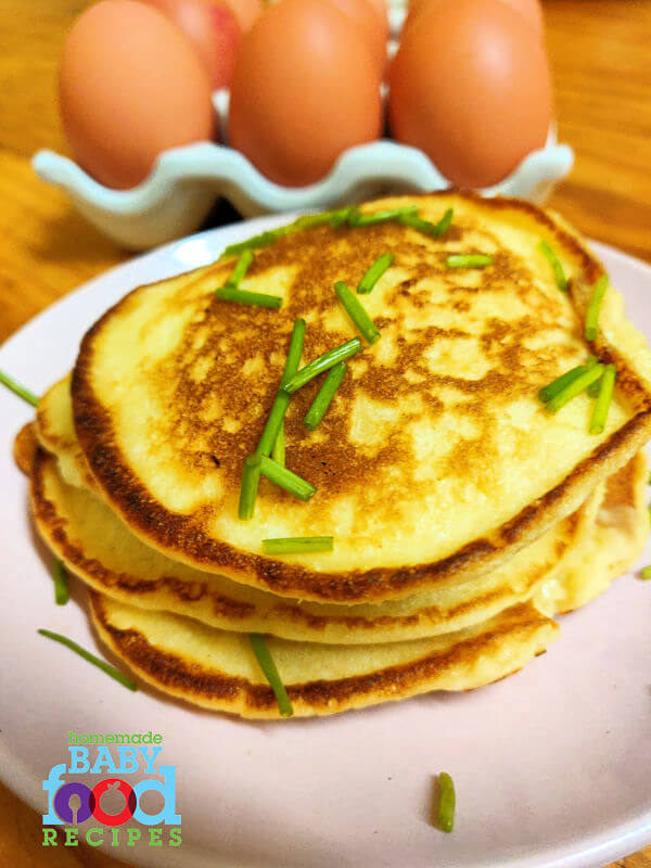 A stack of potato pancakes made with mashed potato and eggs